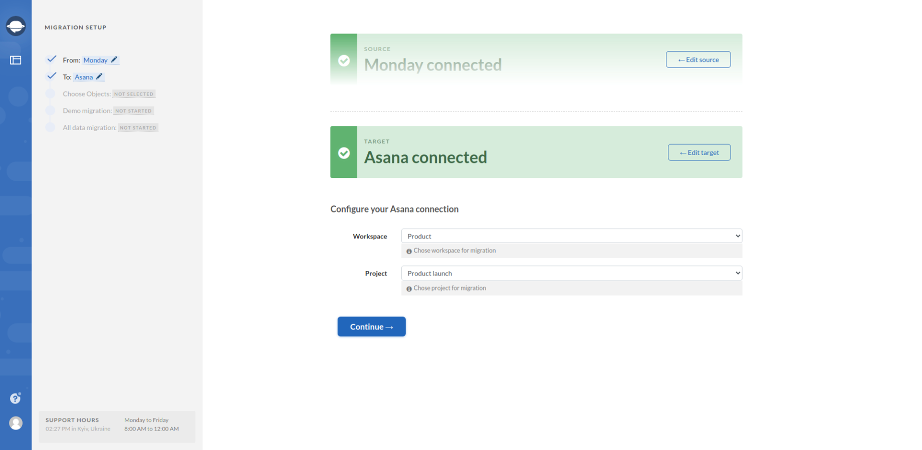 Configuring Target Connection