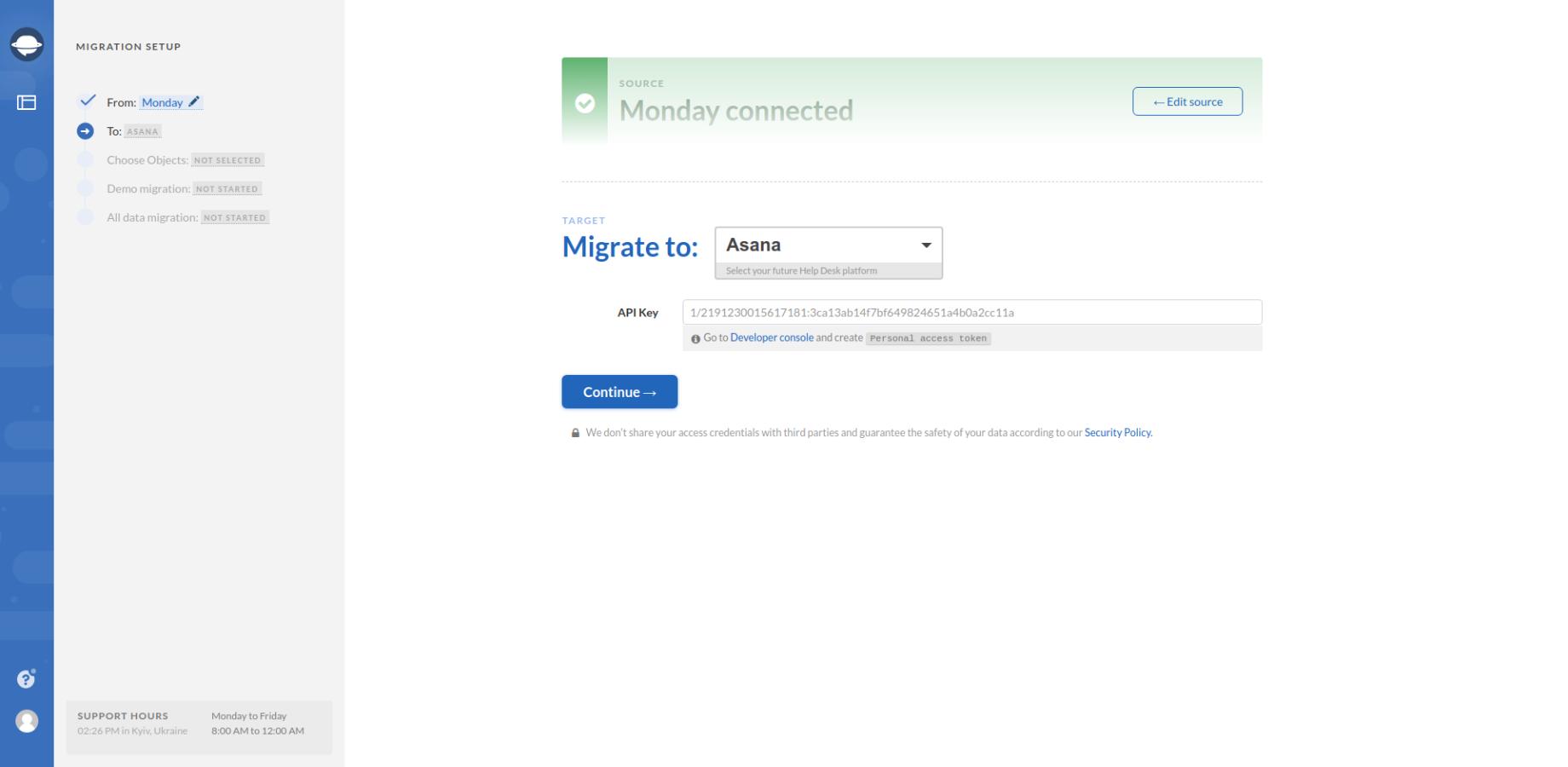 Selecting Data Migration Target