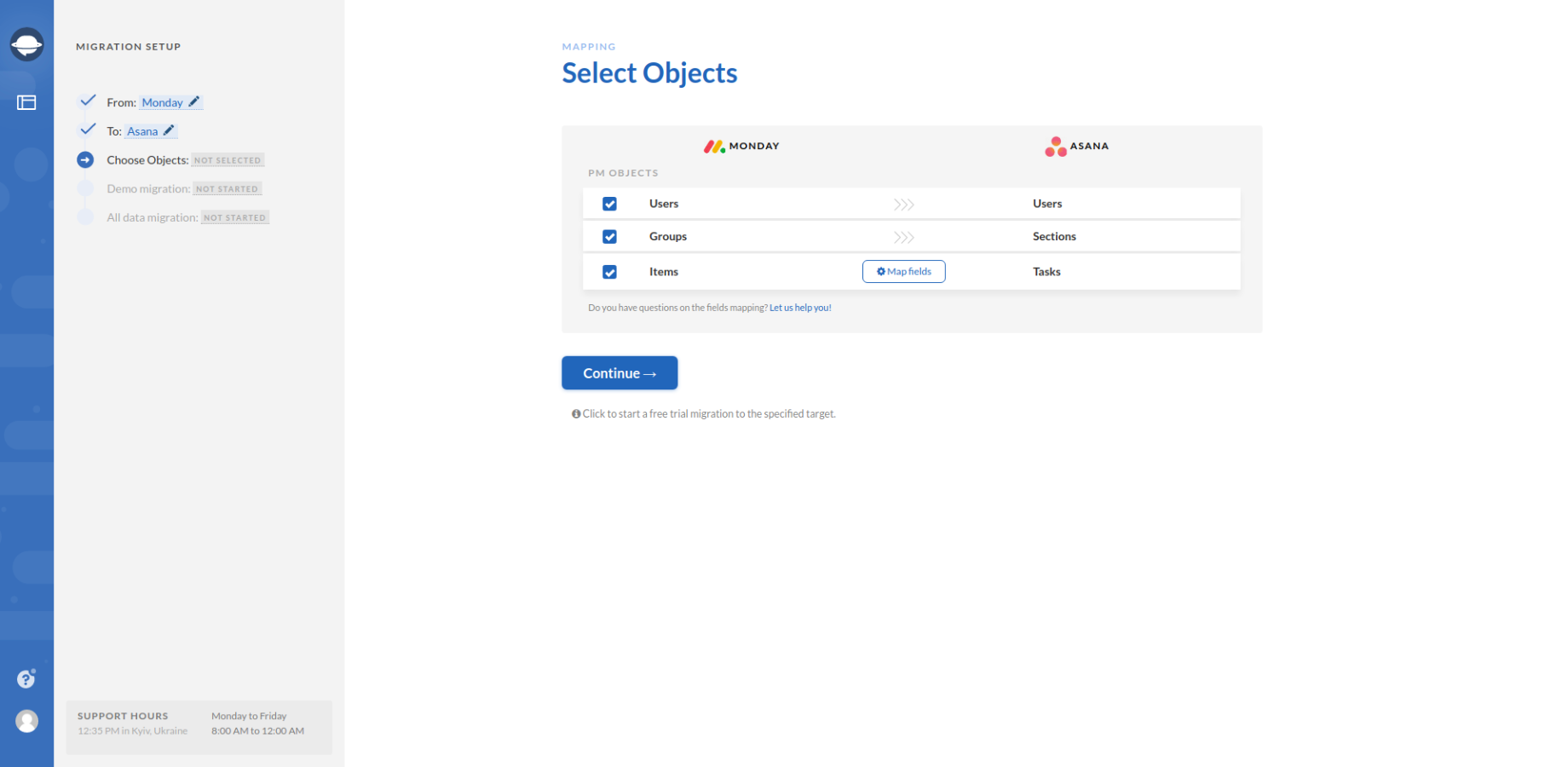 Selecting Objects for Monday Export