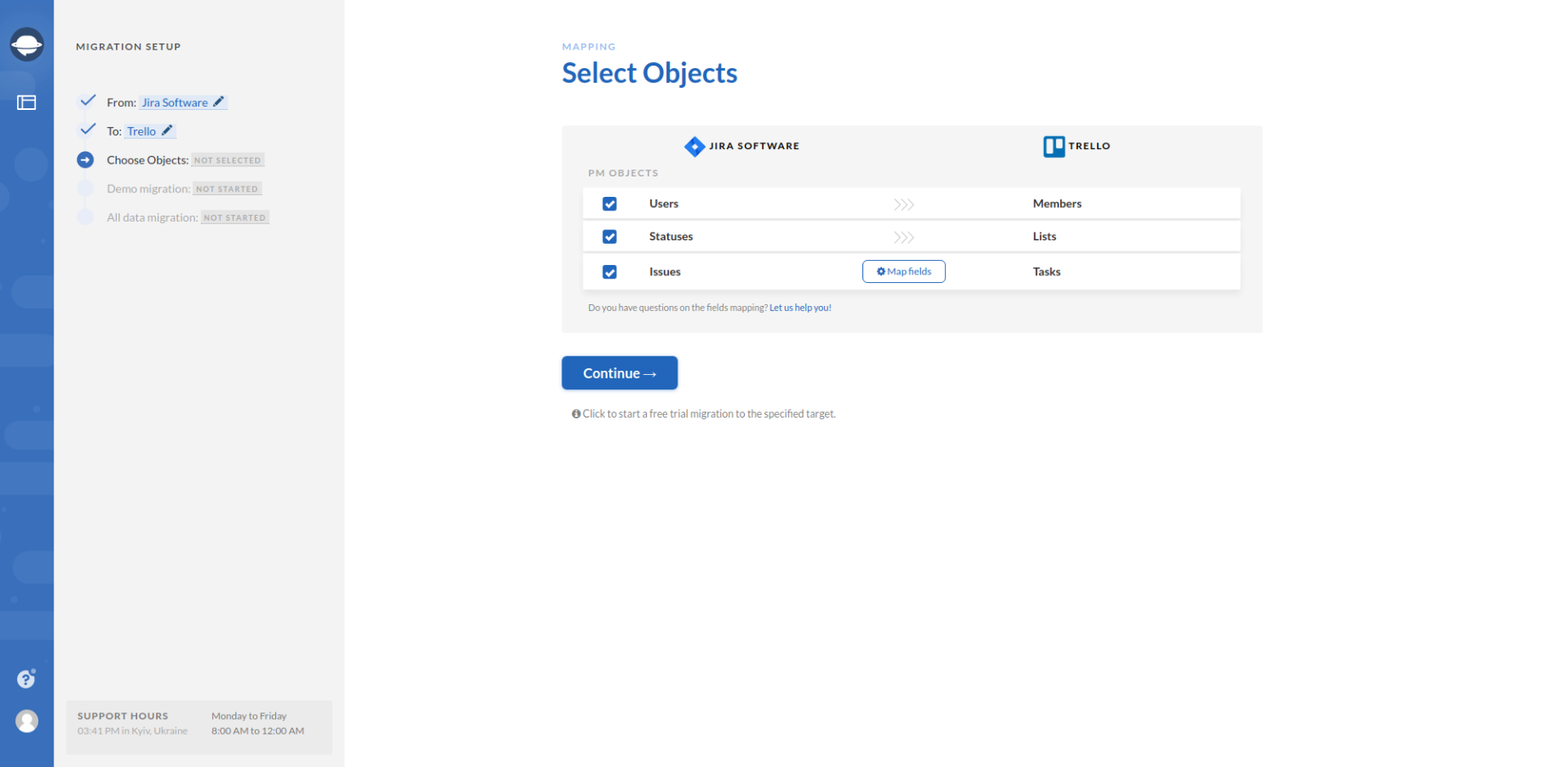 Select Objects for Jira Export