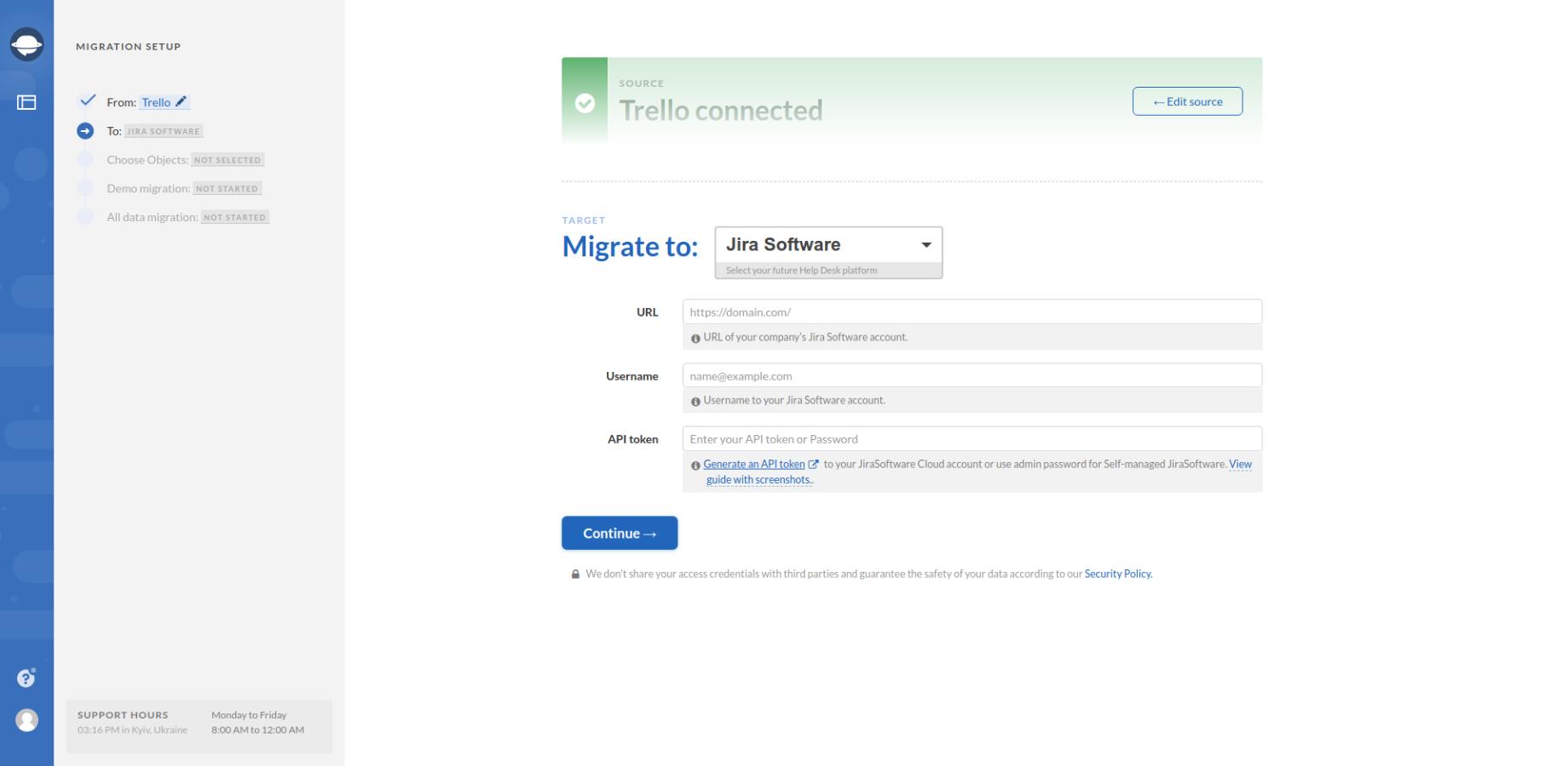 Selecting Jira Software as Target
