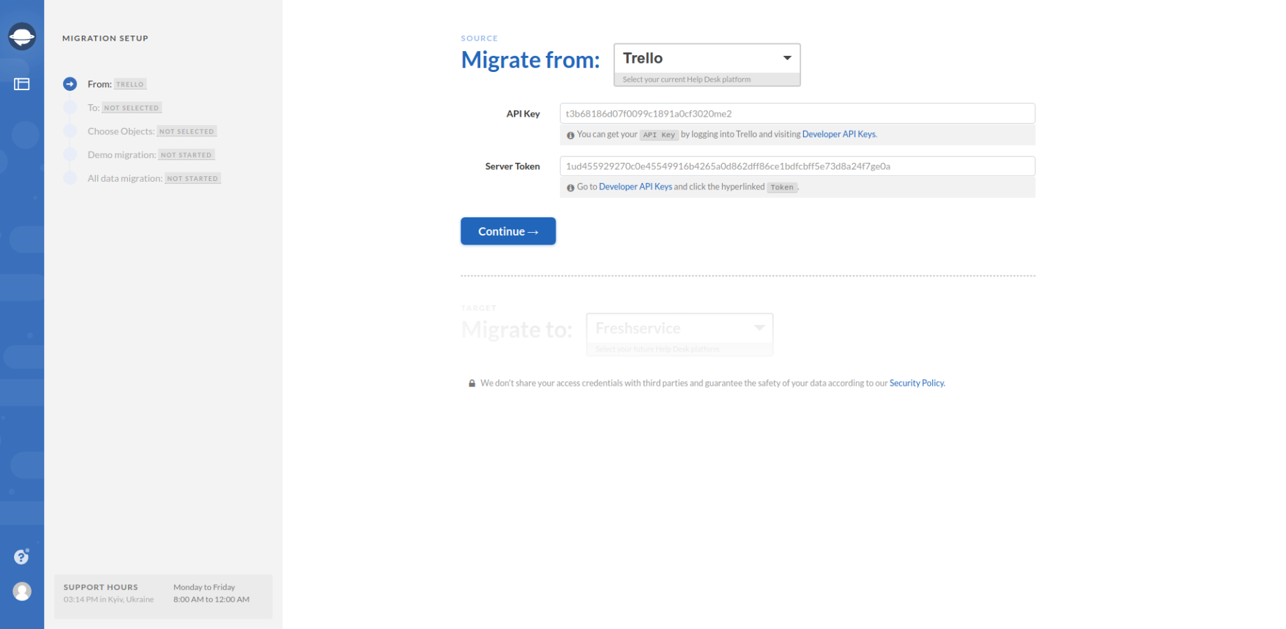 Selecting Migration Source