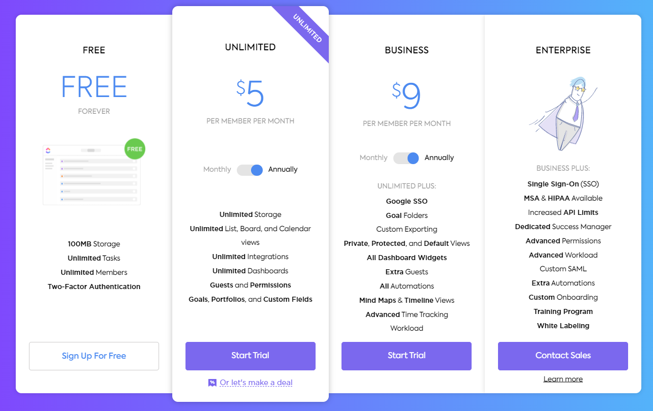 ClickUp pricing plans