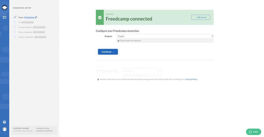 Configure Connection Freedcamp