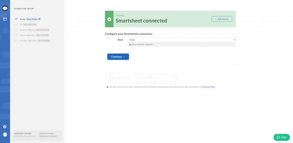 Configure Connection Smartsheet
