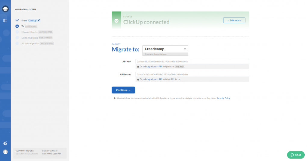 Configure Freedcamp Connection