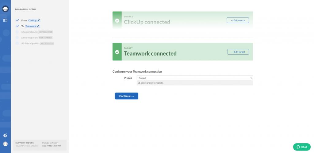 Teamwork Configure Connection