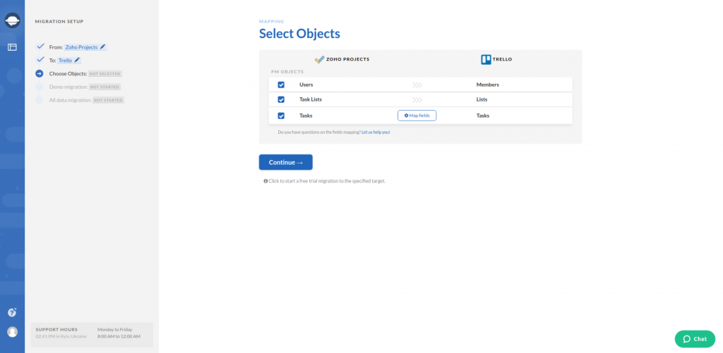Zoho Projects Export Select Objects