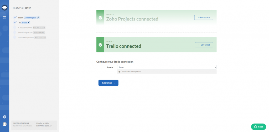 Zoho Projects Target Connection