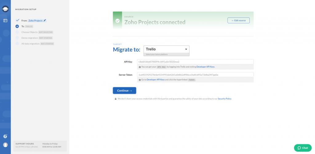 Zoho Projects Export Target Platform